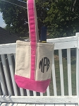 Monogrammed Canvas Wine Tote