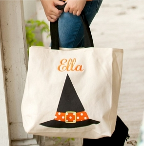 Monogrammed Witch Canvas Tote