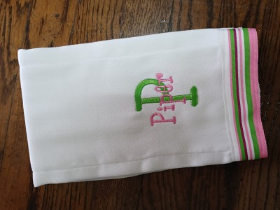 Monogrammed Striped Burp Cloth