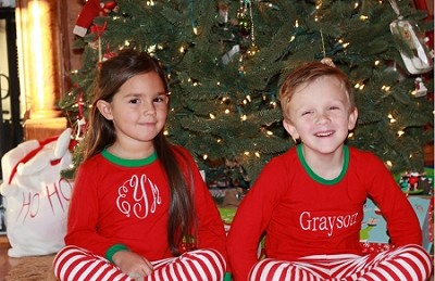 Monogrammed Children's Christmas Pajamas