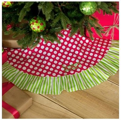 Monogrammed Dottie Christmas Tree Skirt