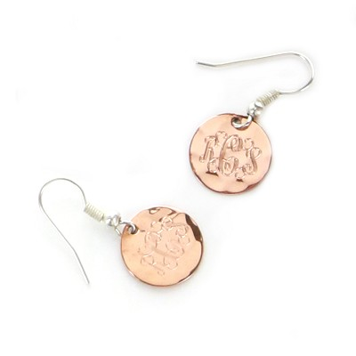Natural round copper earrings