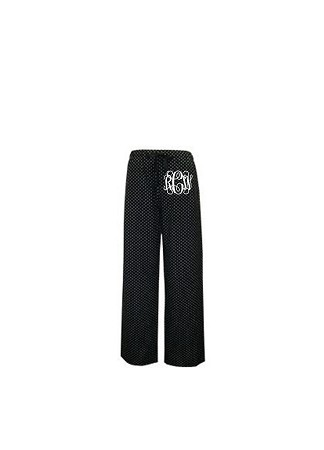 Monogrammed Black and White Swiss Dot Pajama Pants