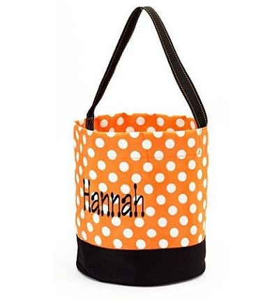 Personalized Orange and White Polka Dot Trick or Treat Bucket