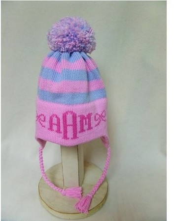 Striped Earflap Child's Winter Hat with Bows and Monogram