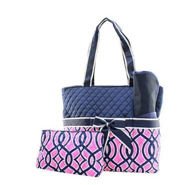 Monogrammed Quilted Diaper Bag 3 Piece Set