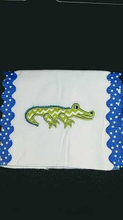 Monogrammed Alligator burp Cloth