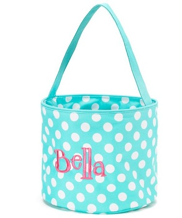 Personalized Aqua Polka Dot Easter Bucket