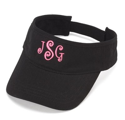 Monogrammed Ladies' Black Visor