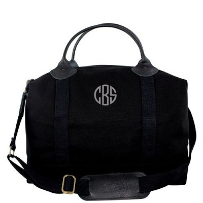 Monogrammed Solid Black Weekender Bag