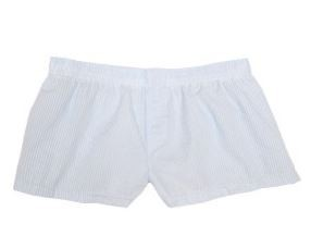 Monogrammed Ladies' Blue Seersucker Boxer Shorts