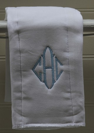 Diamond Monogrammed Burp Cloth