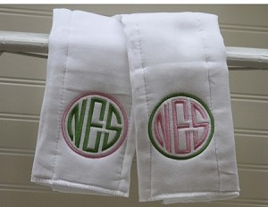 Circle Monogram Burp Cloth Set
