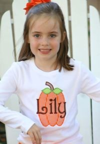 Child's Personalized Applique Pumpkin Shirt