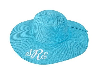 Monogrammed Child's Aqua Floppy Hat