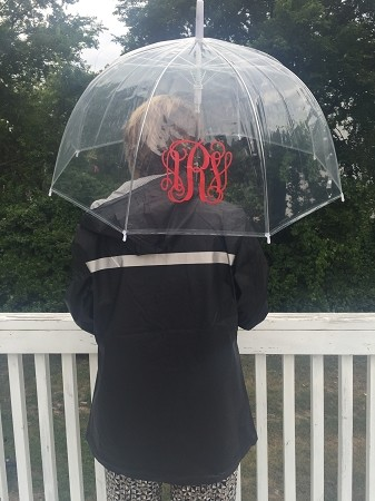 Monogrammed Clear Umbrella with Vinyl Monogram