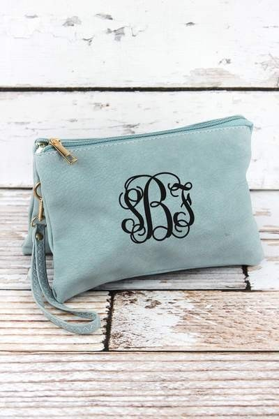 Monogrammed Faux Leather Crossbody Clutch in 6 Colors