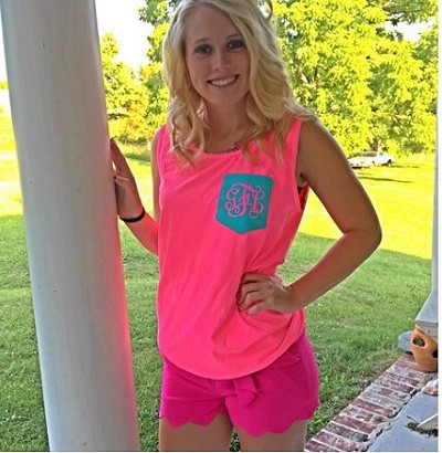 Monogrammed Comfort Colors Pocket Tank