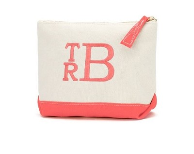 Monogrammed Canvas Cosmetic Bag-Coral Trim