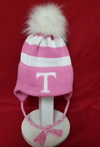 Monogrammed Fur Pompom Hat with Earflaps