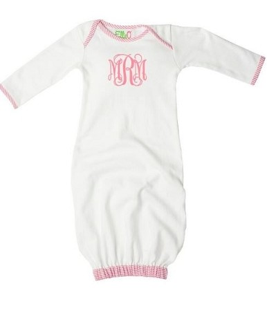 Monogrammed White and Pink Seersucker Baby Gown