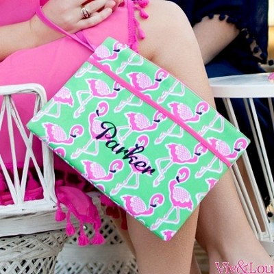 Monogrammed Flamingle Zip Pouch Wristlet