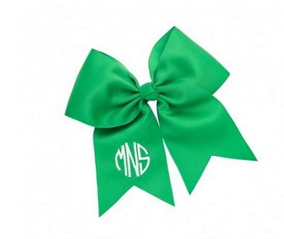 Preppy Green Fabric Monogrammed Hairbow