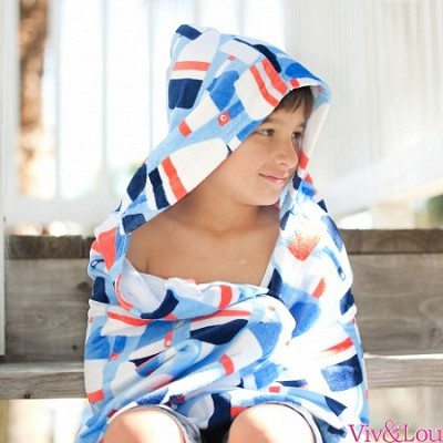 Oh Buoy! Kids monogrammed  hooded towel