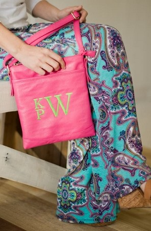 Monogrammed Crossbody Bag in Hot Pink