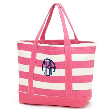 Monogrammed Striped Canvas Tote-Hot Pink