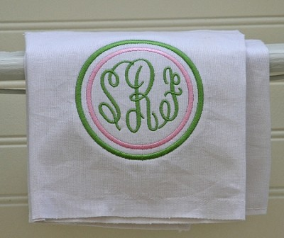 White Monogrammed Kitchen Towel