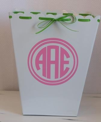 Monogrammed Metal Trash Can With Ribbon