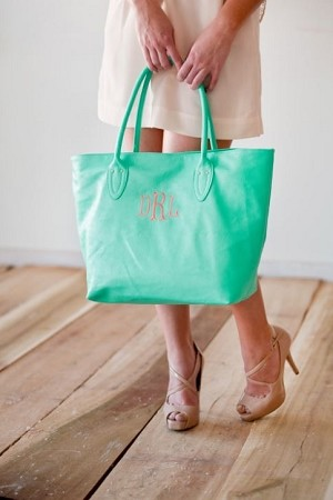 Monogrammed Simple Tote Bag in Mint