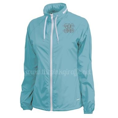 Monogrammed Ladies Beachcomber Jacket Aqua