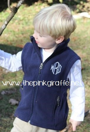 Monogrammed Child's Fleece Vest