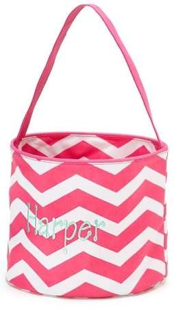Personalized Hot Pink Chevron Easter Bucket