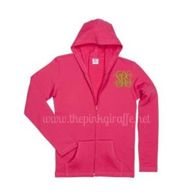 Monogrammed Zip Up Hoodie Hot Pink