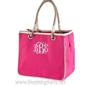 Monogrammed Hot Pink Tote
