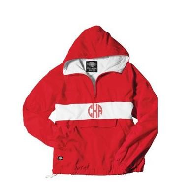 Monogrammed Red Striped Hooded Windbreaker