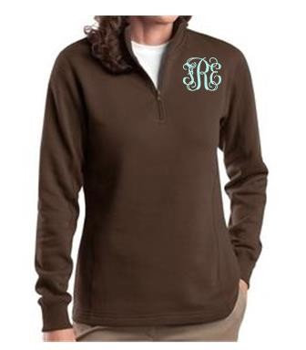 Ladies Brown Monogrammed Quarter Zip Sweatshirt