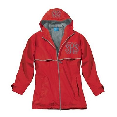 Monogrammed Ladies Red Rain Coat