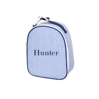 Monogrammed Blue Seersucker Lunchbox