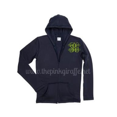 Monogrammed Zip Up Hoodie Navy Blue