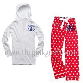 Monogrammed Red Polka Dot Pajama Set