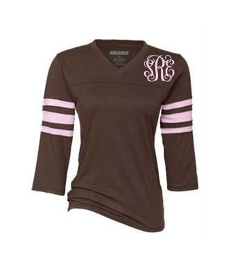 Ladies Monogrammed Pink & Brown Raglan T-Shirt