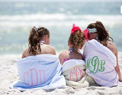 Preppy Monogrammed Seersucker Beach Towel