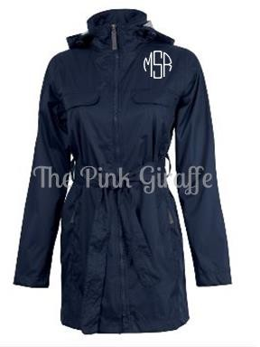 Monogrammed Ladies Navy Trench Coat