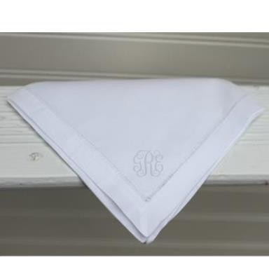 Monogrammed Ladies' White Hemstitch Handkerchief