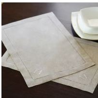 Set of Monogrammed Natural Linen Hemstitched Placemats