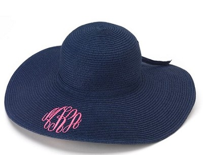 5f695f7e ... sweden monogrammed ladies navy floppy hat 52015 124c4